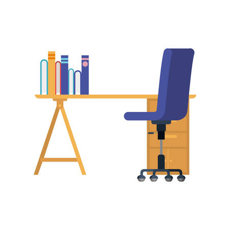 office desk with chair in white background vector illustration desing Çizim
