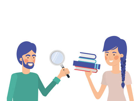 couple couple with office objects in white background vector illustration design