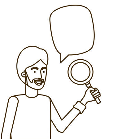 man with magnifying glass in white background vector illustration design 矢量图像