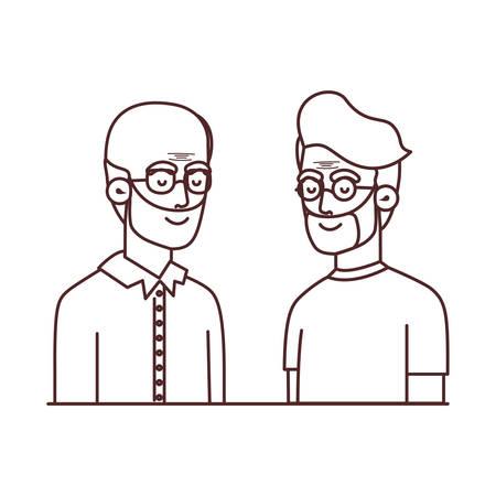 cute grandparents avatar character vector illustration design  イラスト・ベクター素材