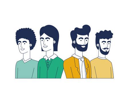 young men avatar character vector illustration design