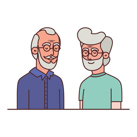 cute grandparents avatar character vector illustration design 일러스트