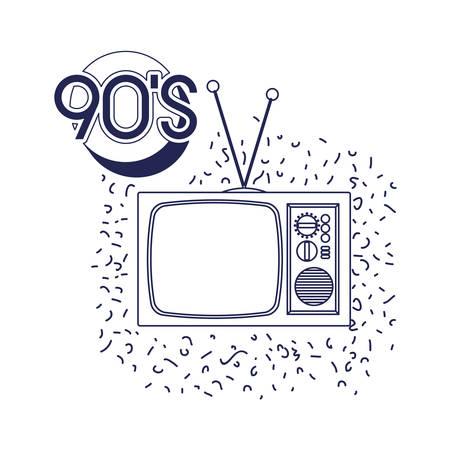 Diseño de ilustración de vector de icono de tv ninetys retro