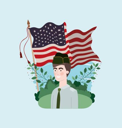 military man with usa flag in the field vector illustration design Ilustração