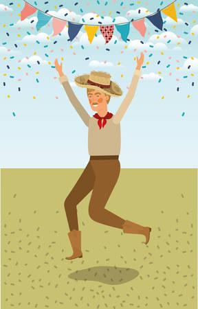 young farmer celebrating with garlands vector illustration design Ilustração
