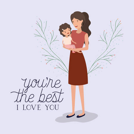 mothers day card with mother and daughter leafs crown vector illustration design