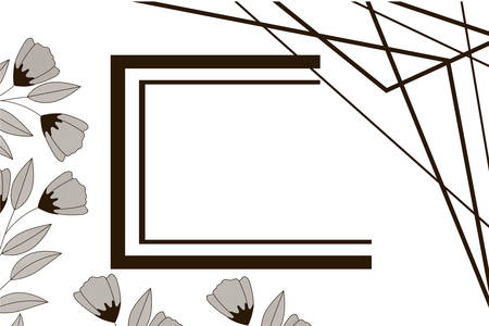 flowers with leaves and rectangle isolated icon vector illustration design