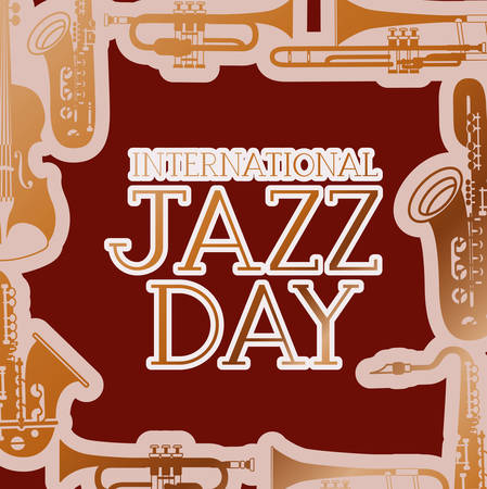 jazz day poste with instruments background vector illustration design