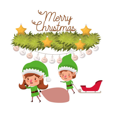 elves couple with sleigh and merry christmas time vector illustration design