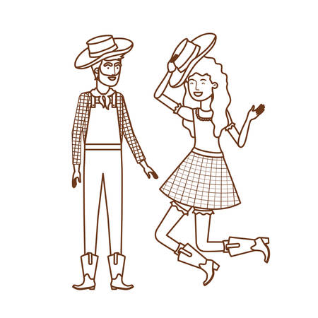 farmers couple dancing with straw hat vector illustration design  イラスト・ベクター素材