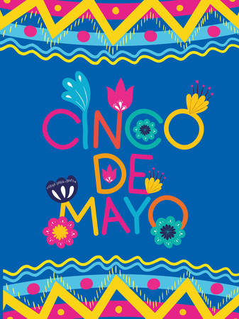 cinco de mayo card with floral and texture frame vector illustration design Illustration