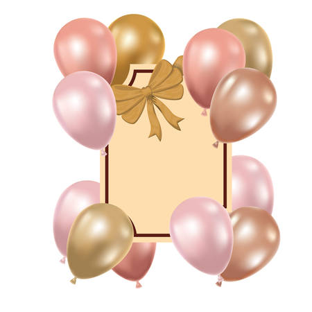 frame with helium balloons on white background vector illustration design