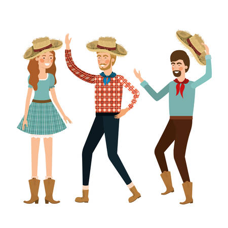 group of people dancing with straw hat vector illustration design
