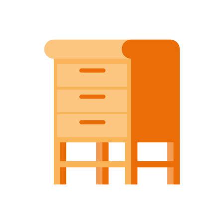 wooden shelving in white background icon vector illustration design Ilustracja
