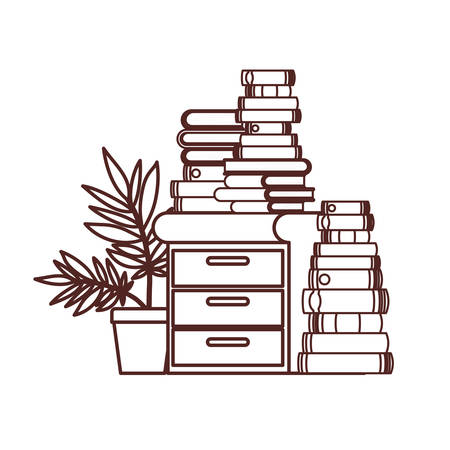 silhouette of wooden drawer with stack of books vector illustration design Illustration