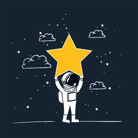 Astronaut draw with yellow star design, Spaceman galaxy cosmonaut universe space science and technology theme Vector illustration
