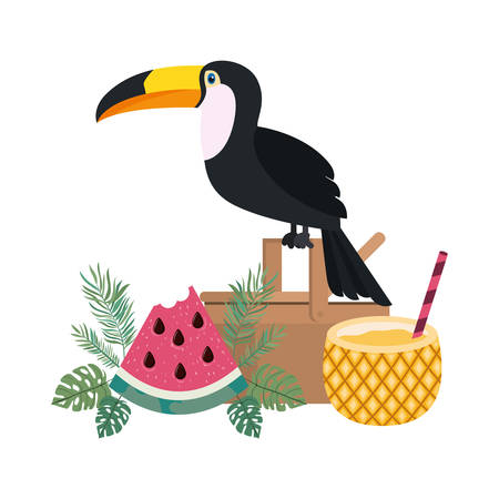picnic basket with pineapple cocktail on white background vector illustration design