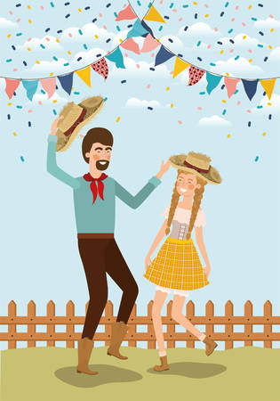 farmers couple celebrating with garlands and fence vector illustration design Banque d'images - 125538535