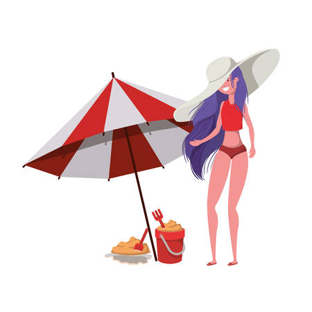 young woman with swimsuit on white background vector illustration design