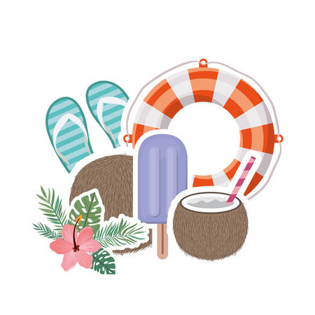 summer objects in white background vector illustration design