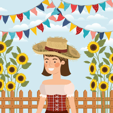 female farmer celebrating with garlands and fence vector illustration design Banque d'images - 125643568