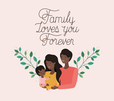 family day card with black parents and daughter leafs crown vector illustration design