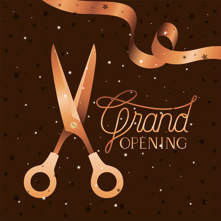 grand opening message with scissors cutting golden tape vector illustration design Vettoriali