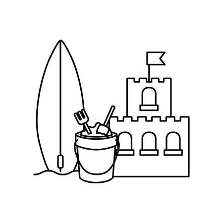 silhouette of sand castle on white background vector illustration design