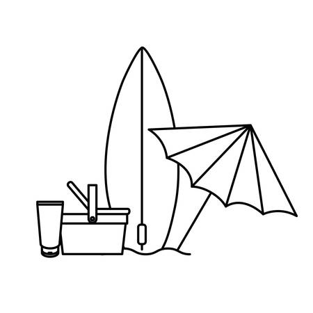 silhouette of surfboard on white background vector illustration design  イラスト・ベクター素材