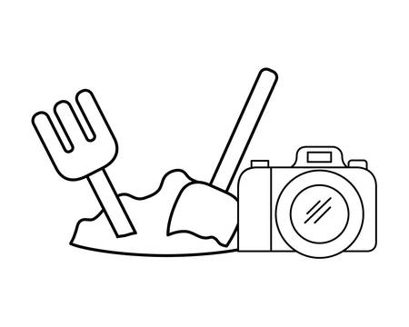 silhouette of shovel and rake and camera photographic vector illustration design