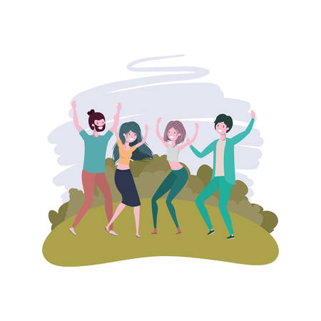 group of people dancing in landscape with trees and plants vector illustration design Illustration