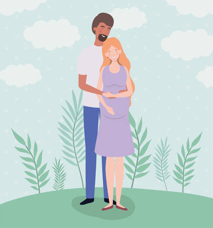 cute lovers couple pregnancy characters in the landscape vector illustration design Illustration