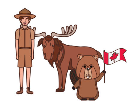 Beaver moose animal and ranger design, forest canada life nature and fauna theme Vector illustration