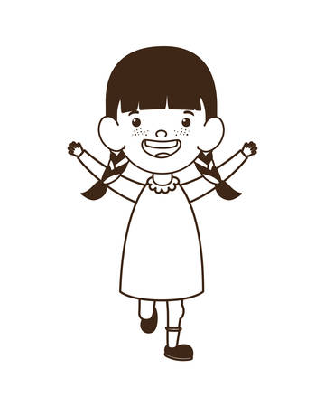 baby girl standing smiling on white background vector illustration design