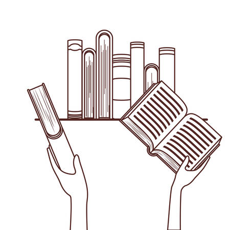 Hands holding books design, Education literature read library school university and learning theme Vector illustration