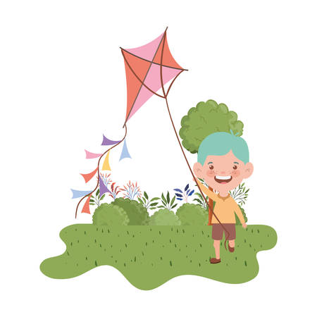 baby boy standing with kite in the hand vector illustration design  イラスト・ベクター素材