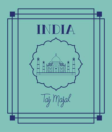indian taj majal temple with frame background vector illustration design