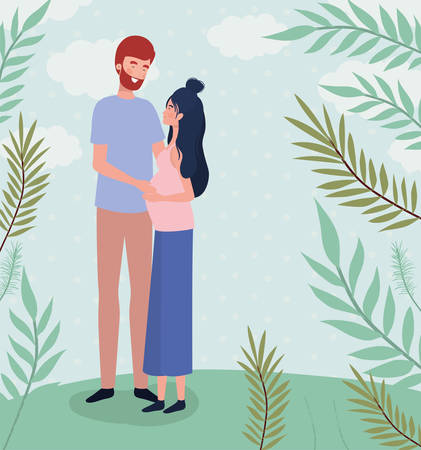 cute lovers couple pregnancy characters in the landscape vector illustration design