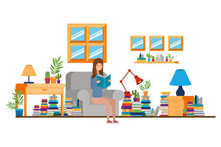 woman with book in hands in living room vector illustration design