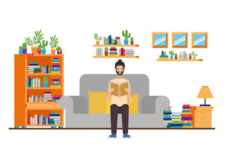 man with book in hands in living room vector illustration design Illustration