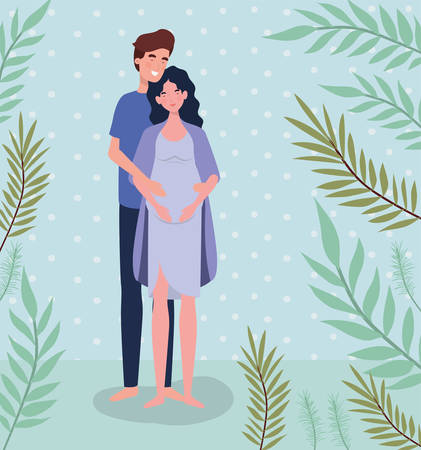 cute lovers couple pregnancy characters in the landscape vector illustration design Stock Vector - 125831046