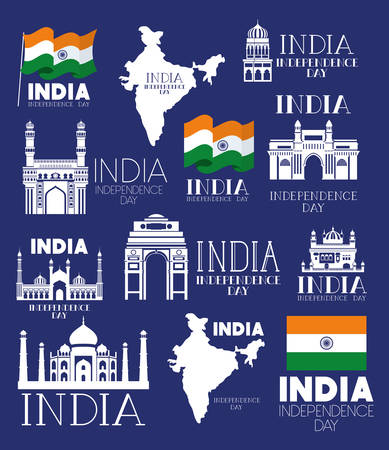 indian set temples with flag and map icons vector illustration design