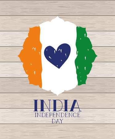 independence day indian flag with heart in wooden background vector design