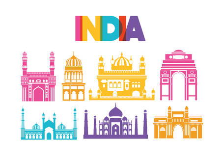 indian set temples architecture icons vector illustration design