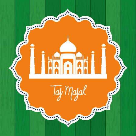 indian taj majal temple with lace frame vector illustration design