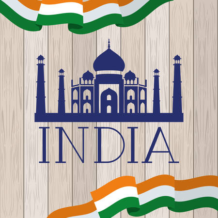 indian taj majal temple with flag in wooden background vector illustration design