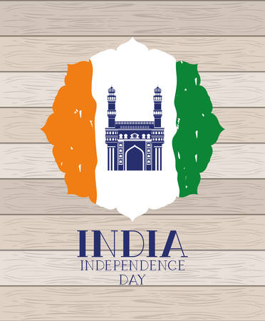 indian mosque chaminar temple with flag in wooden background vector design