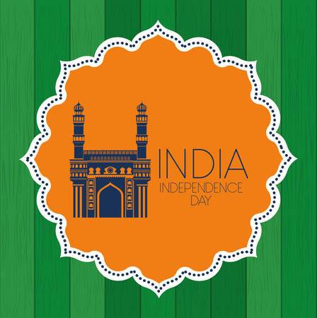 lace with indian mosque chaminar temple vector illustration design