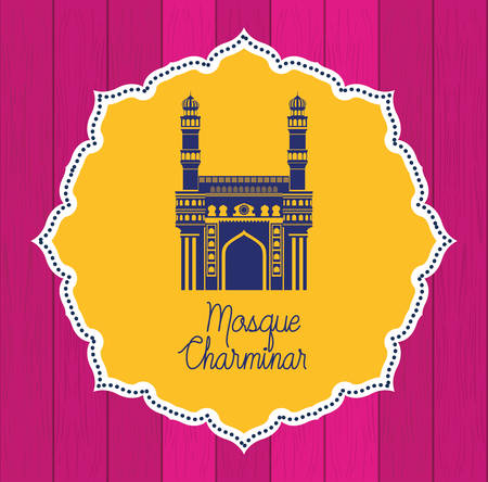 indian mosque chaminar temple lace frame vector illustration design