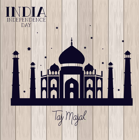 indian taj majal temple with wooden background vector illustration design